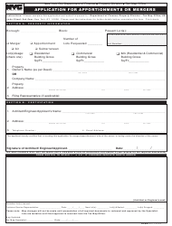"Form RP-602 ""Application for Apportionments or Mergers"" - New York City"