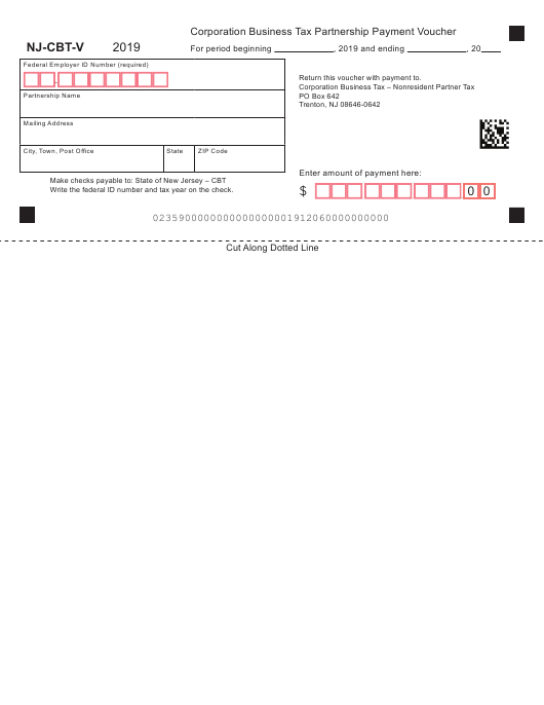 Form NJ-CBT-V 2019 Printable Pdf