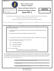 "Form TPT-3 ""Tobacco and Vapor Products Tax Wholesale Exemption Certificate"" - New Hampshire"
