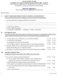 "Part II ""Workplace Safety Program Questionnaire - Job Site Addendum"" - Delaware"
