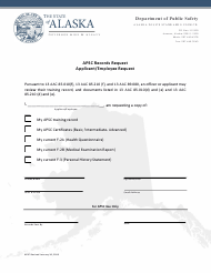 """Apsc Records Request - Applicant/Employee Request"" - Alaska"