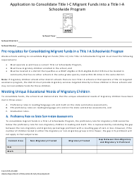 """Form 05-19-040 """"Application to Consolidate Title I-C Migrant Funds Into a Title I-A Schoolwide Program"""" - Alaska"""