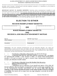 "Form 07-6153 ""Reemployment, Election to Either Receive Reemployment Benefits or Waive Reemployment Benefits and Receive a Job Dislocation Benefit Instead"" - Alaska"