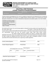 """Industrial Hemp Program License Transfer Acknowledgement"" - Arizona"