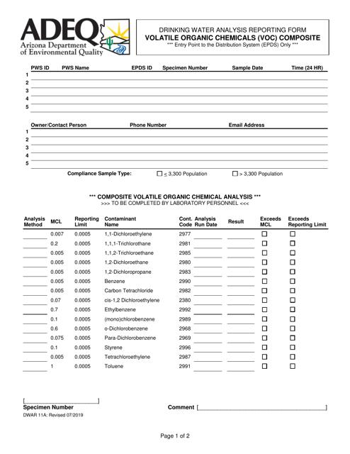 Form DWAR11A  Printable Pdf