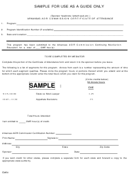 "Form CME2 ""Adr Commission Certificate of Attendance"" - Arkansas"