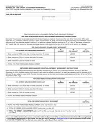 "Form CDTFA-501 Schedule A ""Fee Credit Adjustment Worksheet"" - California"