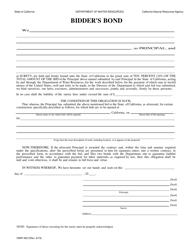 "Form DWR4021 ""Bidder's Bond"" - California"