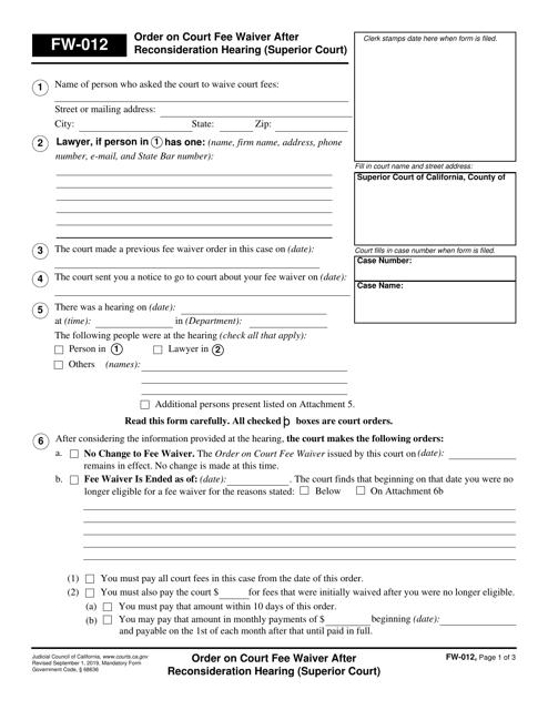 Form FW-012  Printable Pdf