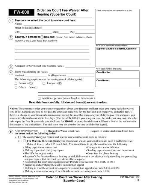 Form FW-008 Printable Pdf