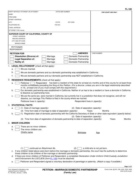 Form FL-100 Printable Pdf