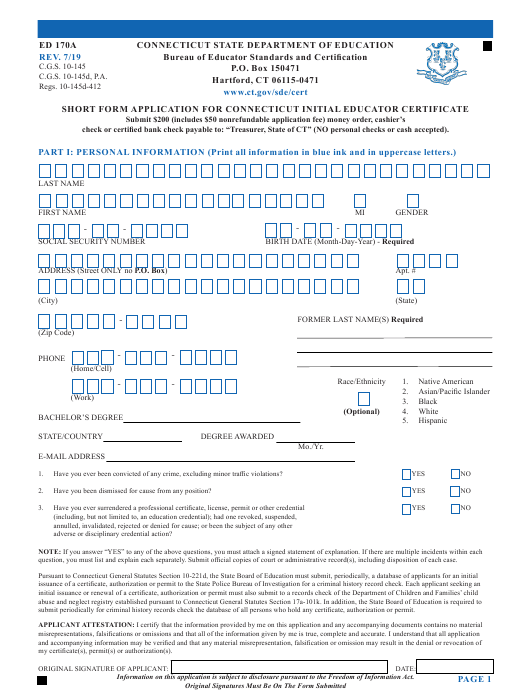 Form ED170A  Printable Pdf