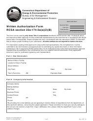 "Form DEEP-TV-SIG-REG-002 ""Written Authorization Form Rcsa Section 22a-174-2a(A)(2)(B)"" - Connecticut"