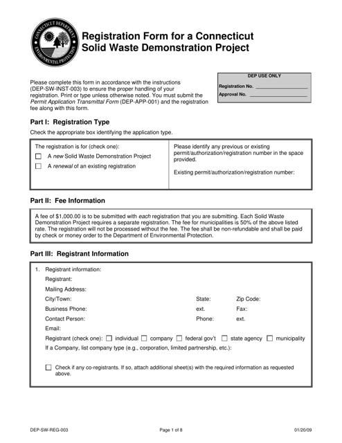 Form DEP-SW-REG-003  Printable Pdf
