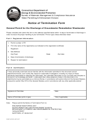 "Form DEEP-WPED-NOT-027 ""Notice of Termination Form - General Permit for the Discharge of Groundwater Remediation Wastewater"" - Connecticut"