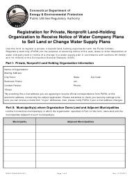 "Form DEEP-PURA-REG-001 ""Registration for Private, Nonprofit Land-Holding Organization to Receive Notice of Water Company Plans to Sell Land or Change Water Supply Plans"" - Connecticut"