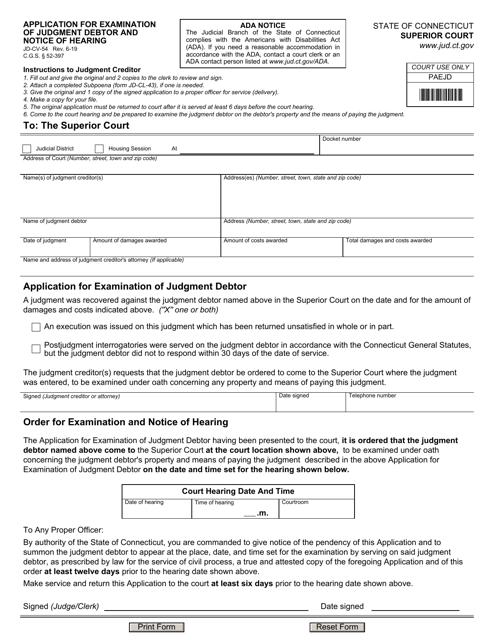 Form JD-CV-54  Printable Pdf