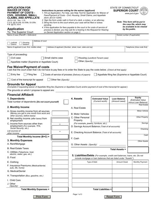 Form JD-CV-120  Printable Pdf