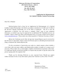 """""""Application for Reinstatement of Limited Liability Limited Partnership"""" - Delaware"""