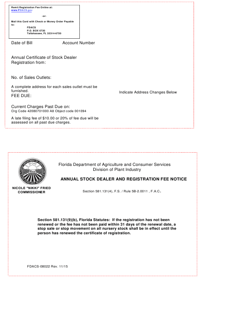 Form FDACS-08022  Printable Pdf