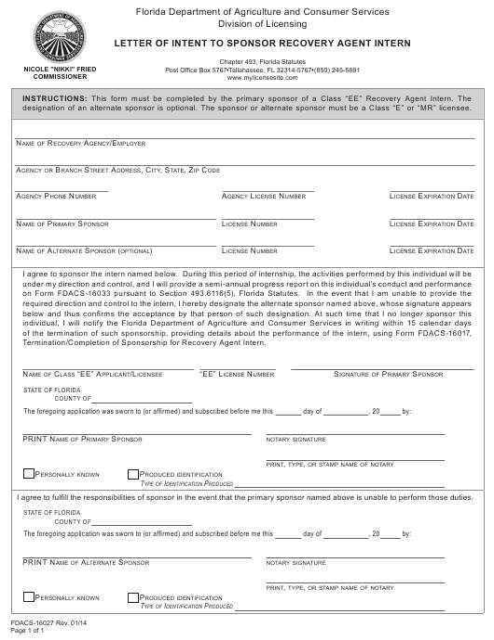 Form FDACS-16027  Printable Pdf