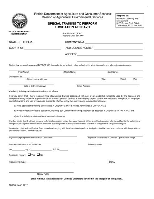Form FDACS-13002  Printable Pdf