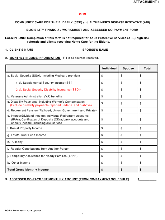 DOEA Form 154 Attachment 1 2019 Printable Pdf