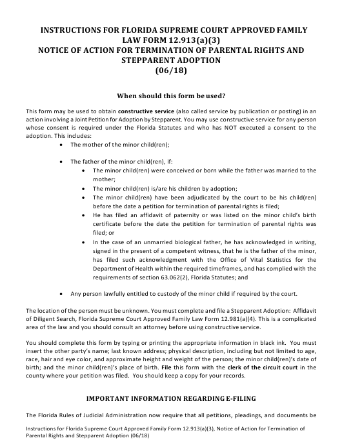 Family Law Form 12.913(A)(3)  Printable Pdf