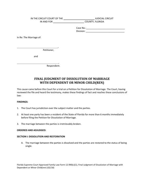 Family Law Form 12.990(C)(1)  Printable Pdf