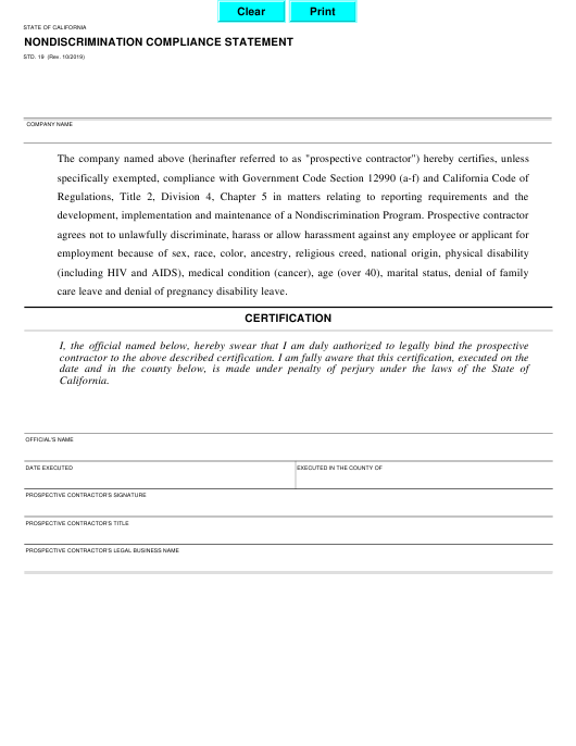 Form STD.19  Printable Pdf