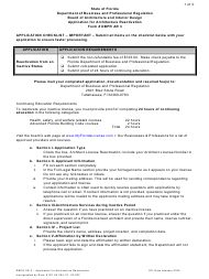 """Form DBPR AR3 """"Application for Architecture Reactivation"""" - Florida"""