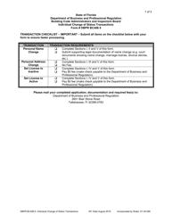 "Form DBPR BCAIB6 ""Individual Change of Status Transactions"" - Florida"