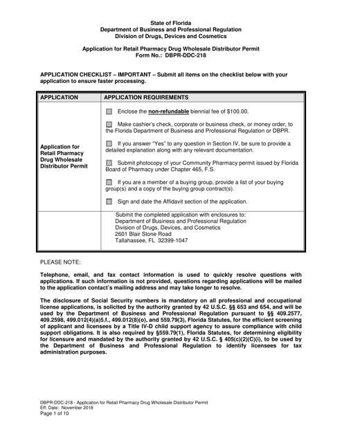 Form DBPR-DDC-218  Printable Pdf