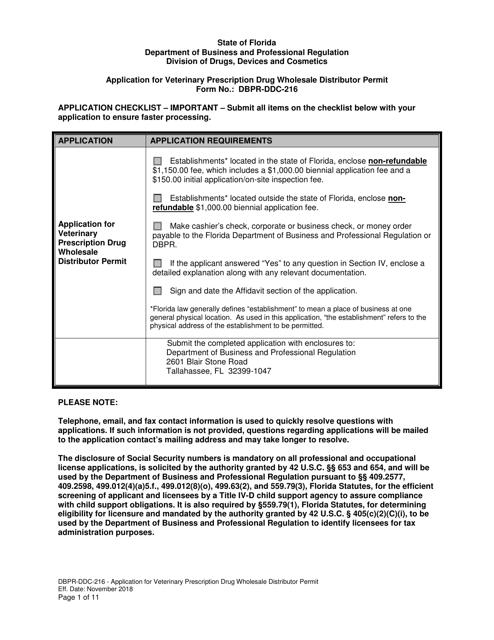 Form DBPR-DDC-216  Printable Pdf