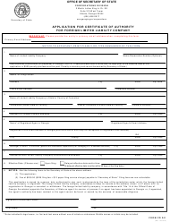 """Form CD241 """"Application for Certificate of Authority for Foreign Limited Liability Company"""" - Georgia (United States)"""