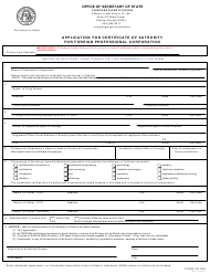 """Form CD238 """"Application for Certificate of Authority for Foreign Professional Corporation"""" - Georgia (United States)"""