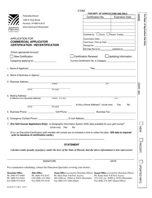 Form P-17.1  Printable Pdf