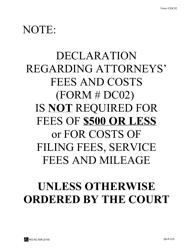 "Form 2DC02 ""Declaration Regarding Attorney's Fees and Costs; Exhibits"" - Hawaii"