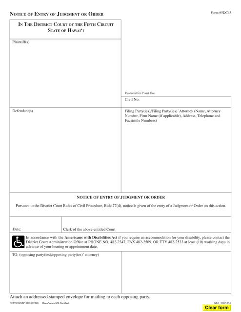 Form 5DC43  Printable Pdf