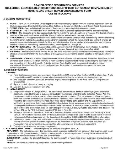 Form CA3  Printable Pdf
