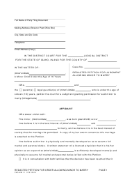 "Form CAO MM1-1 ""Redacted Petition for Judgment Allowing Minor to Marry"" - Idaho"