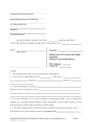 "Form CAO NCA1-1 ""Redacted Petition for Name Change (Adult or Emancipated Minor)"" - Idaho"