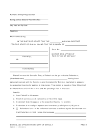 "Form CAO FD7-1 ""Motion and Affidavit for Entry of Default"" - Idaho"