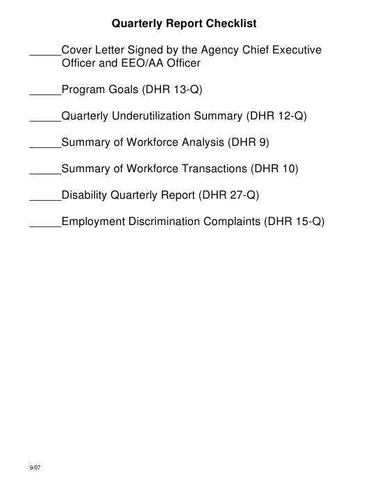 """Quarterly Report Checklist"" - Illinois Download Pdf"