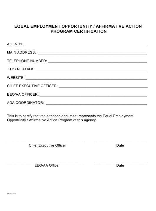 """""""Equal Employment Opportunity / Affirmative Action Program Certification"""" - Illinois Download Pdf"""