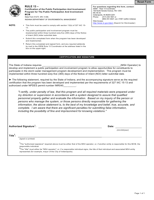 State Form 51273  Printable Pdf