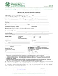 "Form M-4 ""Broodmare Registration Application"" - Iowa"