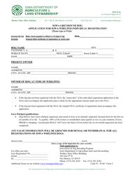 """Form 2 """"Iowa Greyhound Dog Application for Iowa-Whelped Individual Registration"""" - Iowa"""