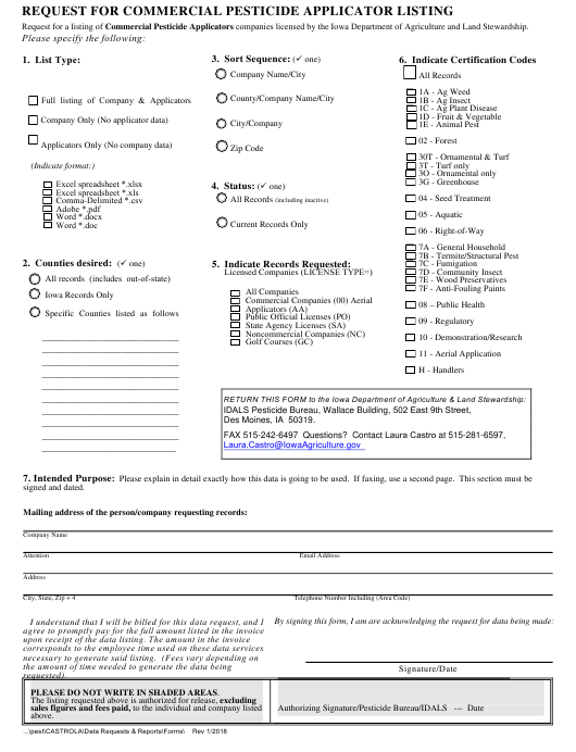 """Request for Commercial Pesticide Applicator Listing"" - Iowa Download Pdf"