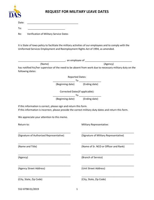 Form 552-0798  Printable Pdf